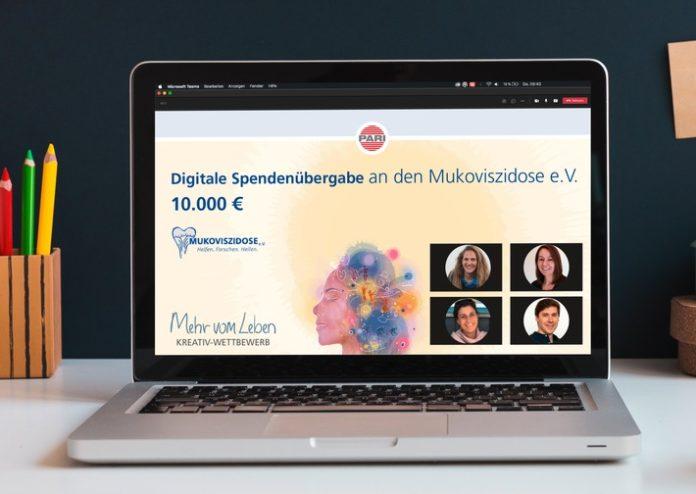 """113D1778 Post20SpendeARI20 20Muco20e.V. 696x494 - PARI unterstützt mit Spendenerlös des """"Mehr vom Leben"""" Kreativ-Wettbewerbs den Mukoviszidose e.V."""