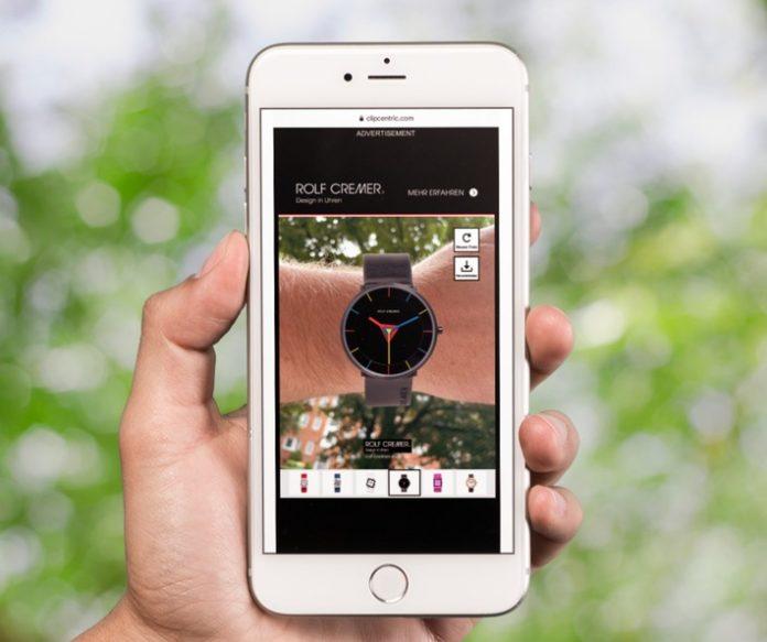 Clipcentric20Rolf20Crented Reality Ad 696x583 - Uhren-Anprobe mit einem Klick: Deutsche Uhrenmarke Rolf Cremer startet erstmals Augmented-Reality-Display-Werbung / Ad-Tech-Dienstleister Clipcentric baut maßgeschneiderte Lösung