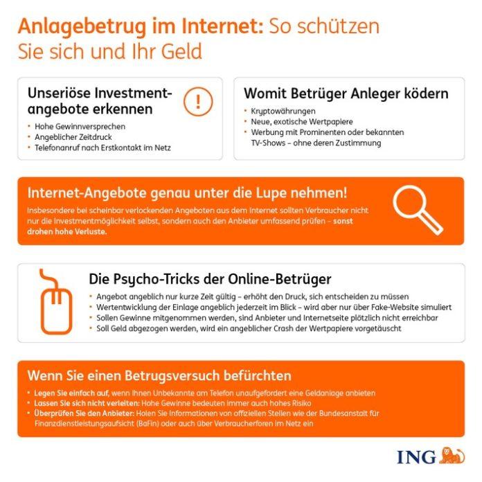 ING Infografik Anlagebetrug 696x696 - Vorsicht vor Anlagebetrug - darauf gilt es zu achten