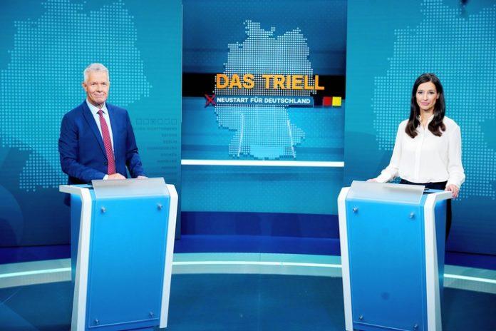 """RTL DasTriell Moderatoren2021 696x464 - RTL/ntv Wahl-Triell crossmedial & barrierefrei / Peter Kloeppel: """"Mehr Raum für unsere Fragen und Nachfragen"""" / Triell-Nachklapp mit Günther Jauch, Motsi Mabuse und Louisa Dellert"""