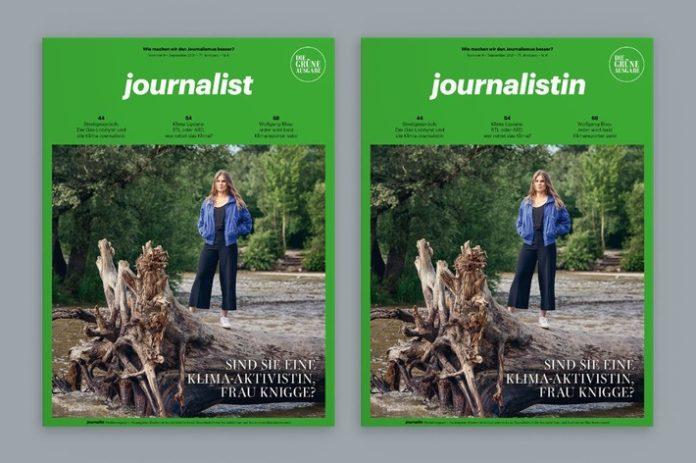 """journalist gruene ausgabe 0921 696x463 - """"Das Thema ist riesig, und wir werden es in den nächsten Jahren auch nicht mehr los."""" Planet-B-Moderatorin Ilka Knigge in der """"grünen Ausgabe"""" des journalists über Klimajournalismus."""